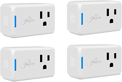 Jinvoo Wi-Fi Smart Plug Wi-Fi Mini Outlet with Timing Function,Remote Control Your Devices,Occupies Only One Socket,Works with Alexa Google Assistant-4Pack