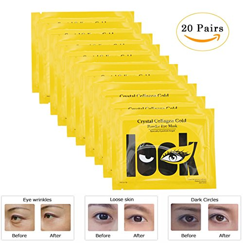 EZGO 20 Pairs Crystal Gel Collagen Gold Power Eye Mask, Great For Anti Aging, Dark Circles, Puffiness And So On