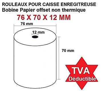 Lote de 10 bobinas para caja registradora papel blanco - dimensiones: 76 x 70 x 12 mm No térmica papel offset 1 Plis eléctrica bobina: Amazon.es: Oficina y ...