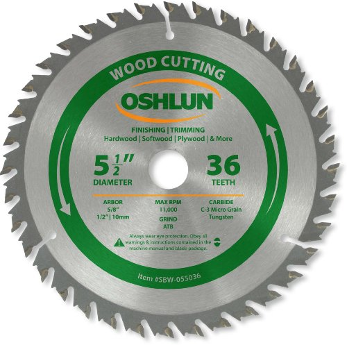 Black Fine Blade - Oshlun SBW-055036 5-1/2-Inch 36 Tooth ATB Finishing and Trimming Saw Blade with 5/8-Inch Arbor (1/2-Inch and 10mm Bushings)