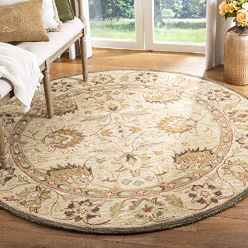 Safavieh Anatolia Collection AN512A Handmade Traditional Oriental Beige Premium Wool Round Area Rug (8' Diameter) 8' Round Wool Rug