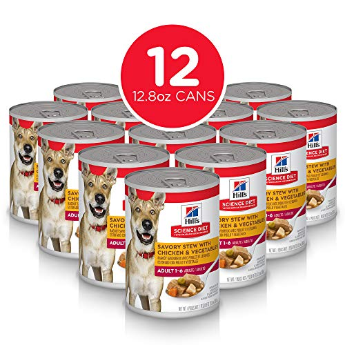 Hill's Science Diet Wet Dog Food, Adult, Savory Stew with Chicken & Vegetables, 12.8 oz, 12-pack