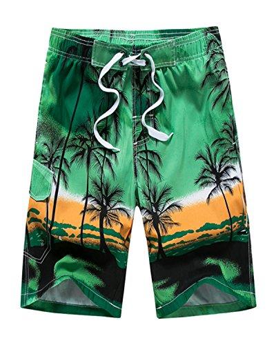 Men's Coconut Tree Printed Beach Board Shorts Hawaiian Quick Dry Swim Trunks Green 42 (Hawaiian Surf Shorts)