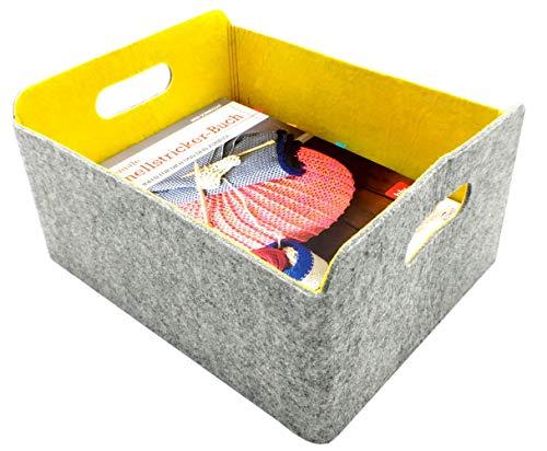 (Welaxy Felt Collapsible Storage Basket Foldable Storage Cube Basket bin Shelf Baskets Bins Drawers Organizer bin Felt Box for Kids Toys Magazine Books Newspapers Clothes Home Organizer (Lemon Yellow))