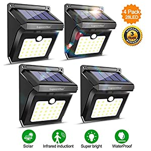 Luposwiten Solar Lights Outdoor Motion Sensor Wireless Waterproof Security Light, Solar Lights for Garden, Patio, Yard, Driveway, Garage, Porch, Pathway by [4PACK] (2)