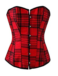 HAMANY Women's Black Red Plaid Boned Lace Up Bustier Corset,Size XXL