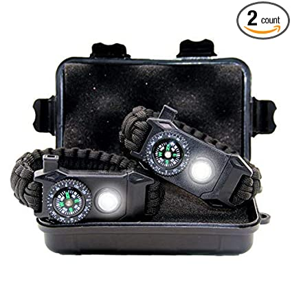TRSCIND Cool Survival LED Paracord Bracelet Birthday Gift Gadgets For Men Boyfriend Teen Boy Scouts 6 In 1 SOS Everyday Carry Gear With