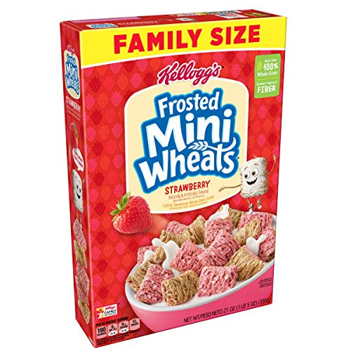 (Kellogg's Breakfast Cereal, Frosted Mini-Wheats, Strawberry, Low Fat, Excellent Source of Fiber, Family Size, 21 oz Box)