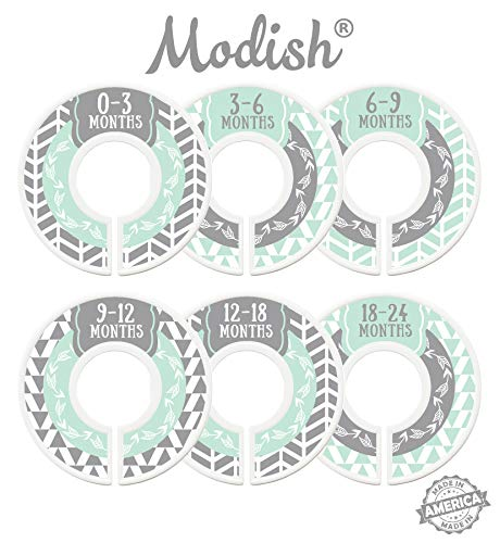 Modish Labels Baby Nursery Closet Dividers, Closet Organizers, Nursery Decor, Gender Neutral, Baby Boy, Baby Girl, Woodland, Arrow, Tribal, Mint, Grey