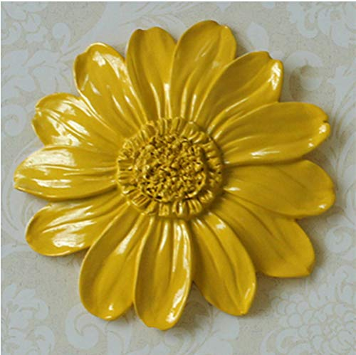 AVGe Indoor Resin Wall Hanging Ornaments, Three-Dimensional Floral Daisy Wall Stickers, Creative Living Room/Bedroom Wall Decoration (Yellow, S (Dimensional Stickers Daisy)