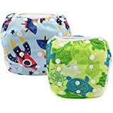 Reusable Swim Diapers Washable Swim Nappies with Adjustable Snaps for Baby Shower Gifts & Swimming Lessons 2 Packs
