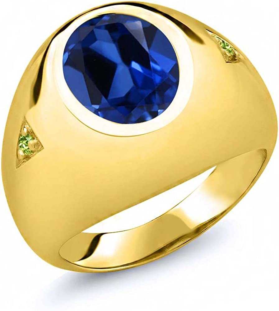 Gem Stone King 6.23 Ct Blue Simulated Sapphire Green Peridot 18K Yellow Gold Plated Silver Mens Ring