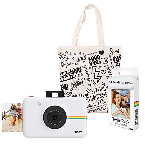 Polaroid Snap Instant Digital Camera (White) Starter Kit with Tote Bag
