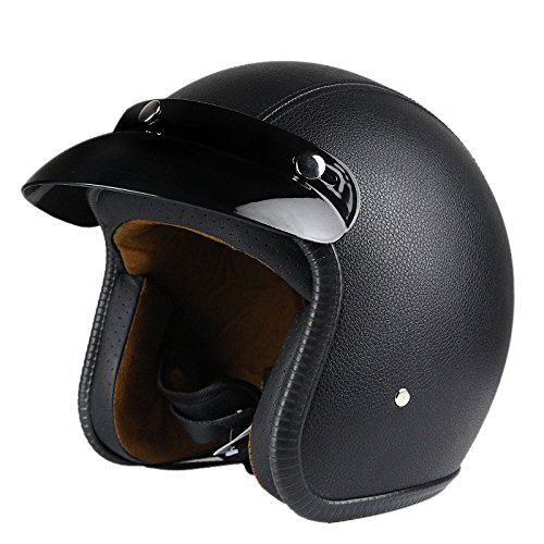 Woljay 3/4 Open Face helmet, Motorcycle Helmet Flat leather Black (XXL)