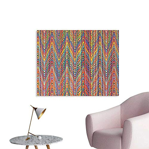 (Tudouhoho Abstract Poster Paper Colorful Zigzag Pattern with Mixed Contrast Messy Tone Lines Modern Stripes Image Wall Paper Multicolor W28 xL20)