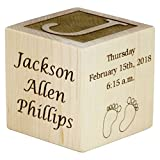Personalized Wood Baby Birth Block, New Baby Gifts, Baby Boy, Baby Girl, Newborn Gifts (2'')