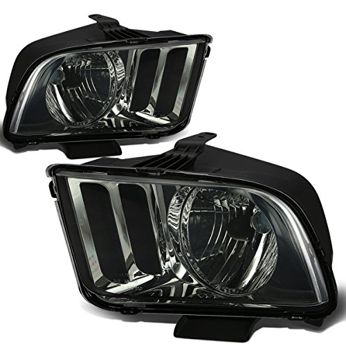 For Ford Mustang Pony 5th Gen Pair OE Replacement Smoked Lens Headlight Lamps Kit