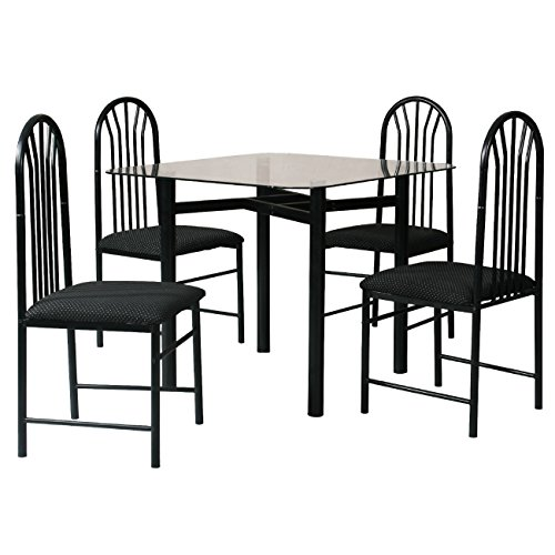 Home Source 24488 Glass Dining Table and 4 Chairs, 36 by 36 by 30-Inch, Black