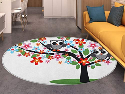 Flowers Transitional Rug - Nursery Round Area Rug Carpet Two Flirty Owls on a Tree with Colorful Flowers Adorable Birdies Summer Nature Living Dining Room Bedroom Hallway Office Carpet Multicolor