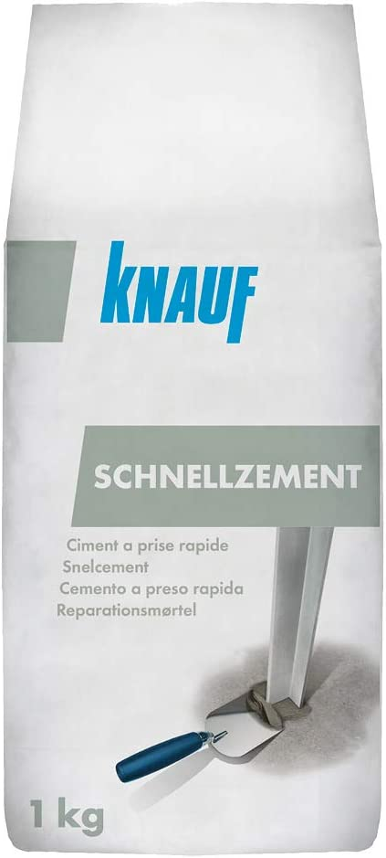 Knauf Schnell-Zement 1-kg minutenschnell abhärtend – Blitz-Zement, Montage-Mörtel für Ausbesserungen und Befestigungen, Blitz-Mörtel mit hoher…