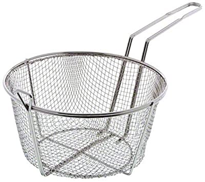 Update International FB-9 Nickel Plated Round Wire Fry Basket, 9-1/2-Inch