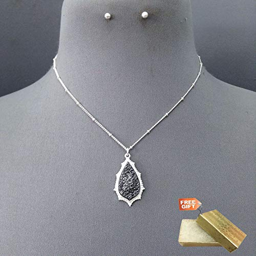 Silver Hematite Finished Teardrop Shape Pendant Necklace & Stud Post Earring Set For Women + Gold Cotton Filled Gift Box for Free