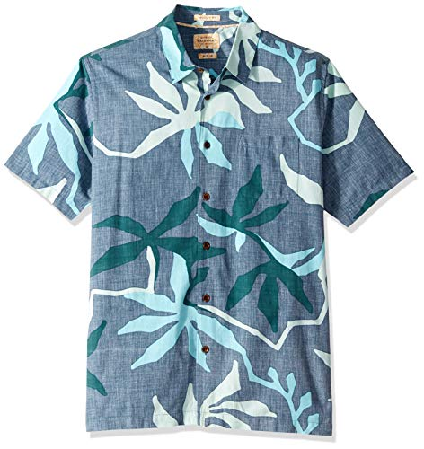 Quiksilver Waterman Men's Gully Floral Button Down Shirt, Orion Blue, -
