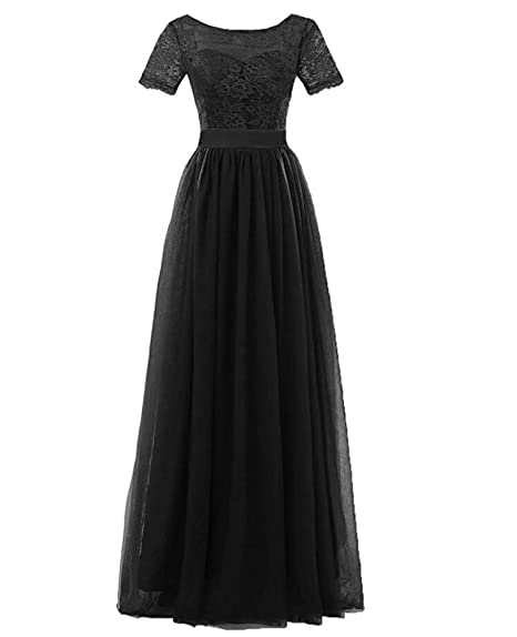 KA Beauty Womens Lace Bridesmaid Dress Sleeves Tulle Prom Evening Dresses Long