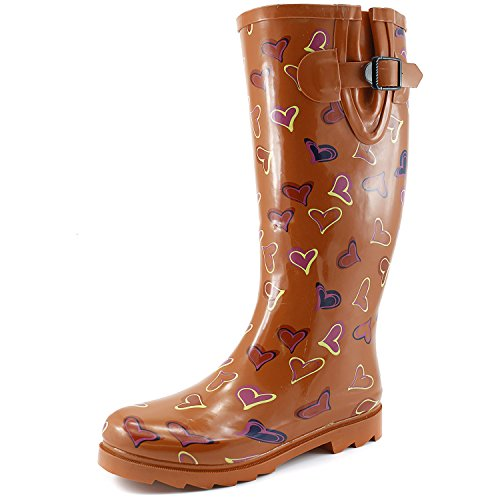 (DailyShoes Women's Puddles Rain and Snow Boot Multi Color Mid Calf Knee High Rainboots,Pink Heart 12 B(M) US)