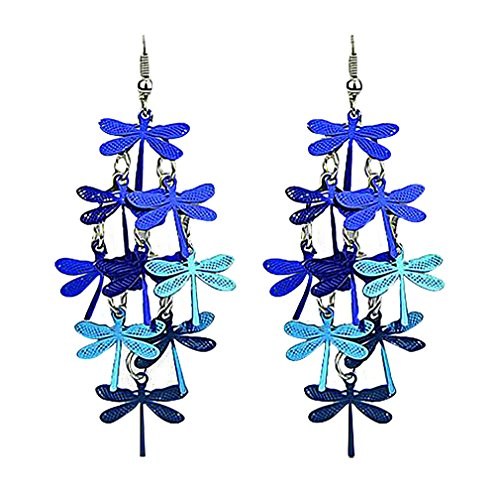 PYRAMID, Women's Elegant Large Blue Dragonfly Butterfly Dangle Earrings, ()