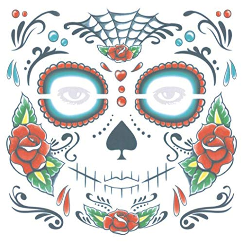 (LZIYAN Halloween Face Mask Tattoo Sticker Masquerade And Parties Art Makeup Tattoo Sticker Temporary Stage Tool Accessories,White streaks in the)