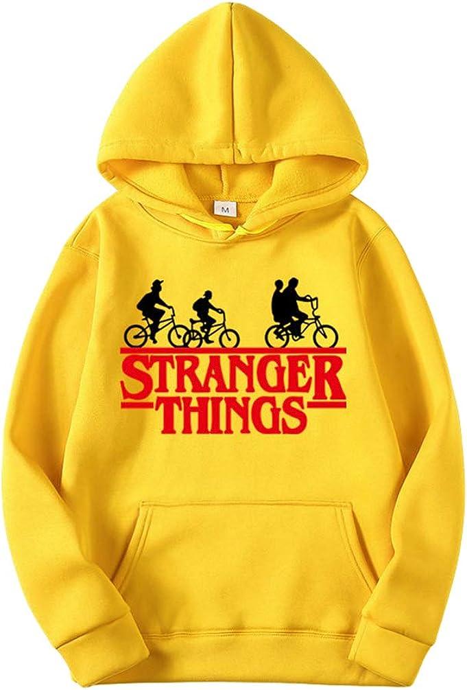 Ketamyy Mens Womens Stranger Things Hooded Sweatshirt Hoodies Velvet Lining Hip Hop Sports Casual Bike Graphic Printed Jumper Sweater Loose Fit Plus Size Pullover