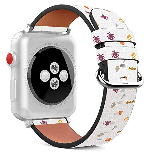 Compatible with Apple Watch - 38mm Leather Wristband Bracelet with Stainless Steel Clasp and Adapters -mpkin Halloween Decoration -
