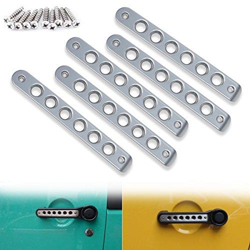 Opall Front Door & Back Door Aluminum Grab Handle Cover For 2007-2018 Jeep Wrangler JK & Unlimited 4 Door 5pcs/set (Silver)