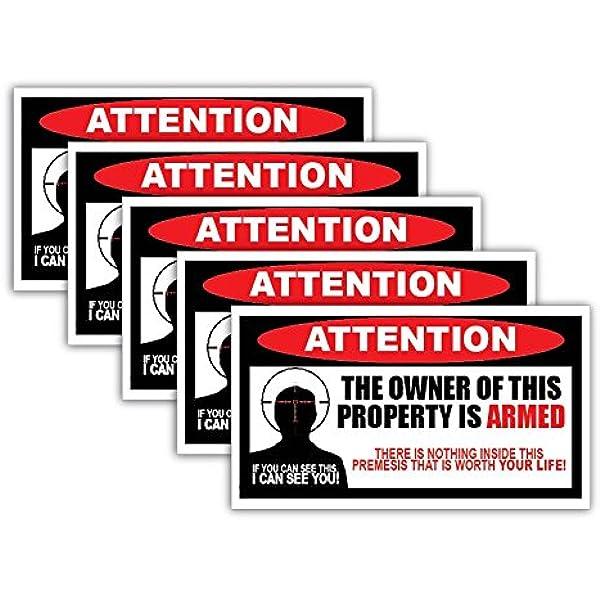 "GUN SAFE ALARM DECAL VINYL STICKER GUN SECURITY WARNING 6/"" x 4/"""
