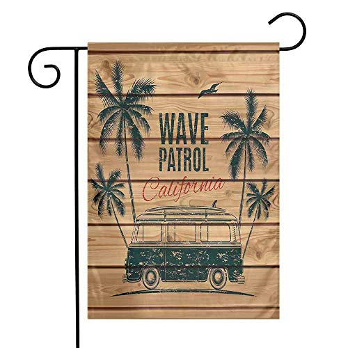 Mannwarehouse Surf Garden Flag Vintage Minivan with Tropical Trees on Wooden Planks Freedom Fun Wave Weekend Theme Premium Material W12 x L18 Brown Teal