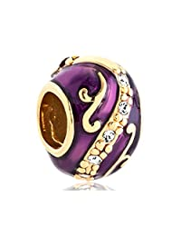 Purple Faberge Egg Enamel Charms Jewelry Clear Crystal Flower Beads Fit Pandora Charn Bracelets