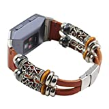 Alonea Replacement Leather Wristband Band Strap Bracelet For Fitbit Ionic (Brown)