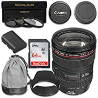 Canon EF 24–105mm f/4L IS USM Lens with SanDisk 64gb SDHC Memory Card for Canon 7D Mark II, 70D, 80D, 5D, 5D MKIII, MKIV, 5DS, 5DS R