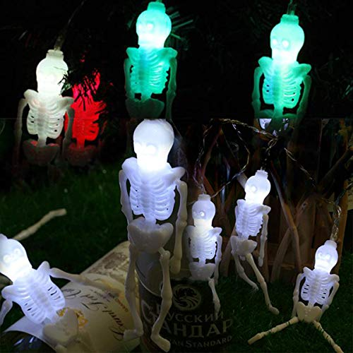 Multicolor Spooky Skeletons String Lights,Ghost Skull String Lights with Battery Operated,Easter Holiday Lights for Party Decor,Mischievous Decorations Dress up Home,Porch,Garden or Yard.]()