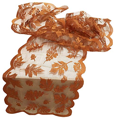 Cotton Buffalo Check Table Runner, Maple Leaf Lace Table Runner Perfect for Fall Dinner Parties Restaurant Decor, Indoor or Outdoor Parties (13
