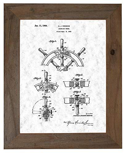 (Boat's Steering Wheel Patent Art Gunmetal Print in a Barnwood Frame (20
