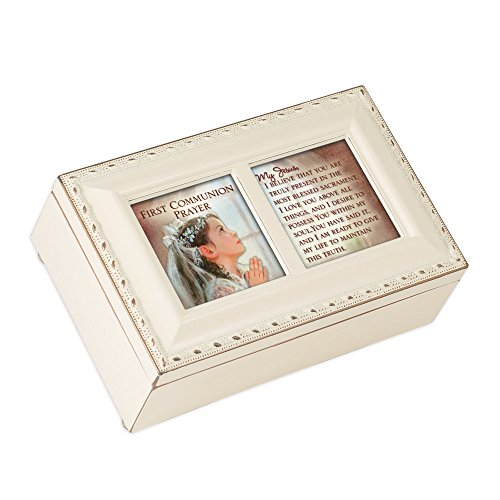 Cottage Garden First Communion Prayer Ivory Petite Music Box/Jewelry Box Plays Ave Maria