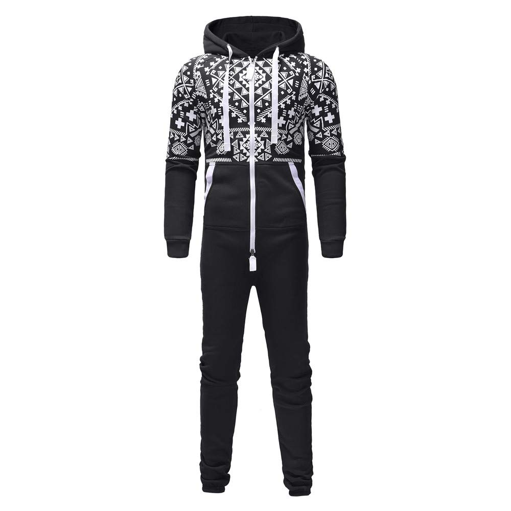 598d49cb5b65 H.eternal Mens Onesie Jumpsuit Hooded Zip Up All in One Playsuit Non Footed  Pyjamas with Pockets One-Piece Garment Sleepsuit Christmas Blouse   Amazon.co.uk  ...