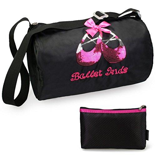 kilofly Ballerina Ballet Slippers Dance Bag + Handy - Embroidered Duffle Mini