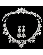 Wedding Bridal Party Jewelry Set Crystal Rhinestone Tiara Necklace Earrings Crown