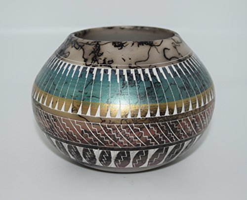 Colorful Quality Hand Etched Horse Hair Decorative Pottery Bowl