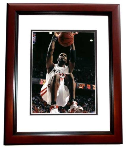 Signed Greg Oden Photograph - 8x10 MAHOGANY CUSTOM FRAME Portland Trailblazers - PSA/DNA Certified - Autographed College - Frames Portland