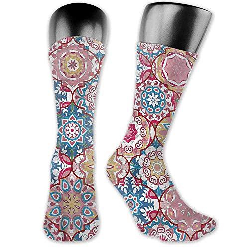 Ogee Liner - 1 Pair Women Short Socks Moroccan,Colorful Boho Ogee Floral,socks women low cut