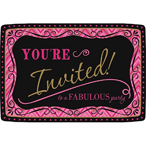 Fabulous Invitations Postcard - Postcard Invitations | Black/Pink/Gold Collection | Party Accessory